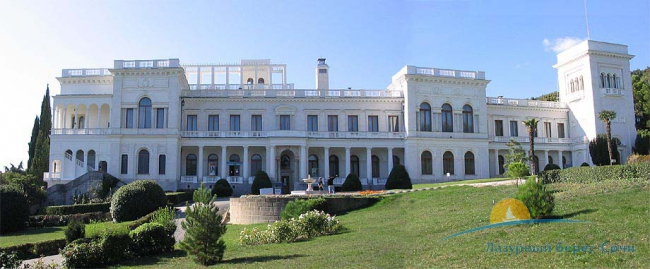 Main facade of White Livadia Palace in Yalta.